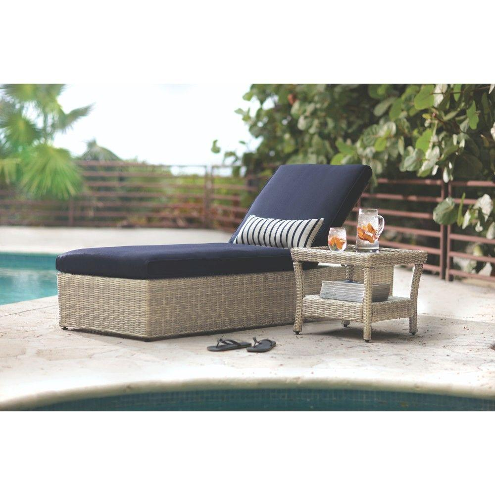 Home Decorators Collection Naples Grey All Weather Wicker Outdoor Chaise Lounge With Navy Cushions