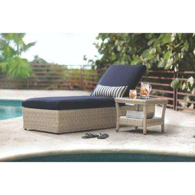 Naples Grey All-Weather Wicker Outdoor Chaise Lounge with Navy Cushions