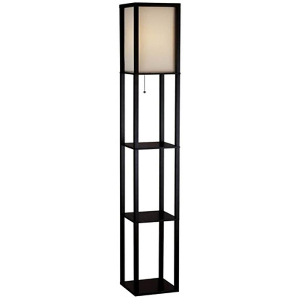 Beautiful Black Shelf Floor Lamp With Ivory Fabric Lamp Shade