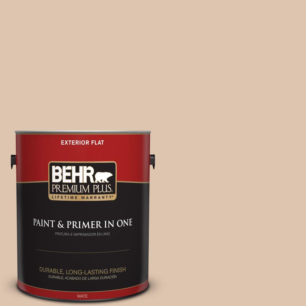 BEHR Premium Plus 1-gal. #N250-2 Brazilian Tan Flat Exterior Paint