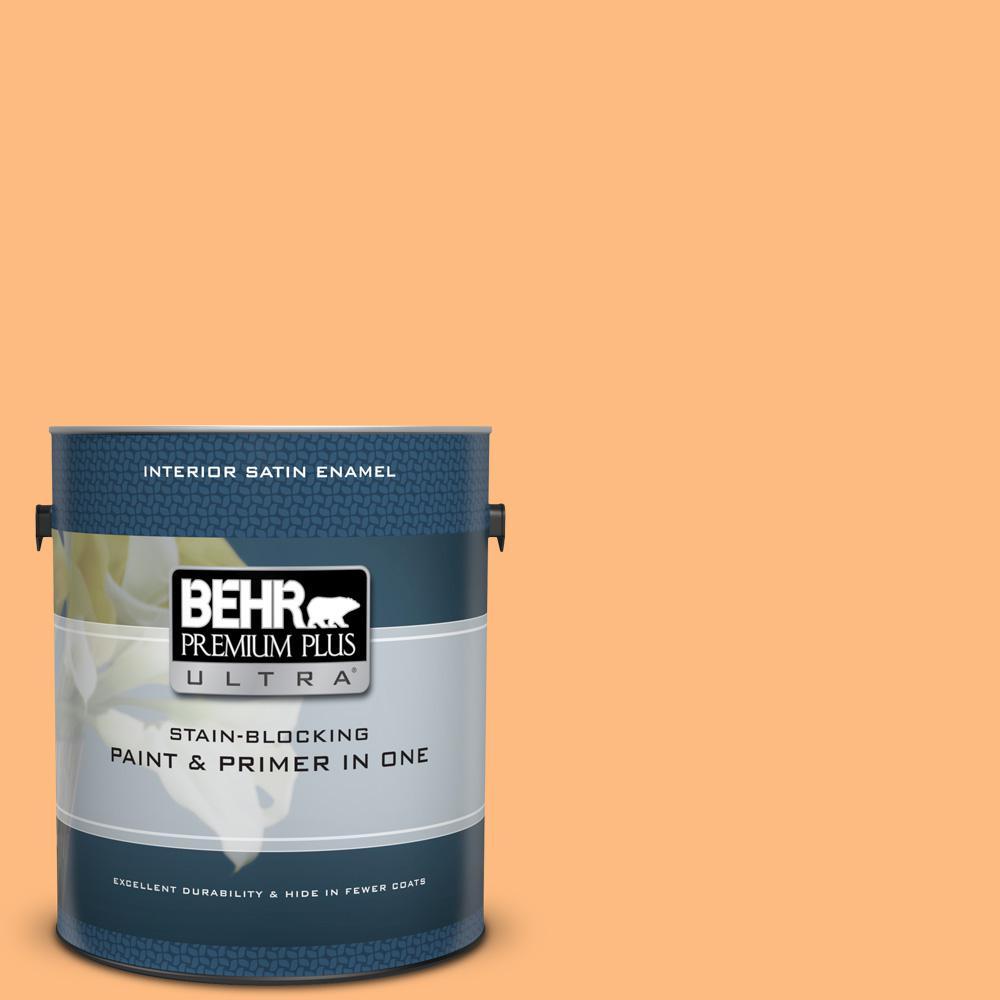 BEHR Premium Plus Ultra 1 gal.  270B-4 Apricot Flower Satin Enamel ... 17fa1dc740