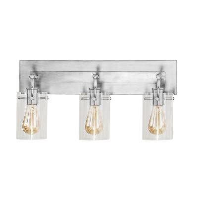 Regan 21 in. 3-Light Brushed Nickel Vanity Light with Clear Glass Shades