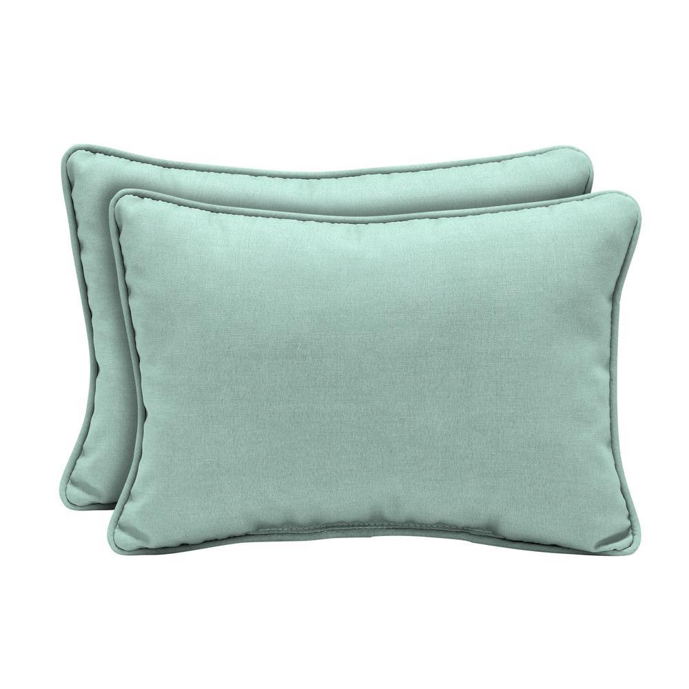 Arden Selections 22 in. x 15 in. Aqua Leala Texture Oversized Lumbar Outdoor Throw Pillow (2-Pack)