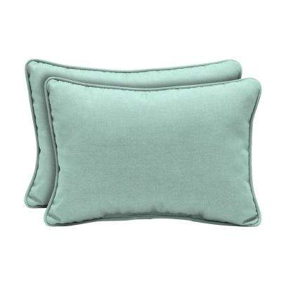 22 in. x 15 in. Aqua Leala Texture Oversized Lumbar Outdoor Throw Pillow (2-Pack)
