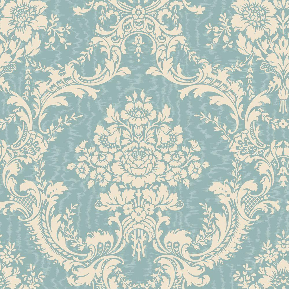 The Wallpaper Company 56 sq. ft. Blue and Cream Mid-Scale Damask on a Moire Background Wallpaper-DISCONTINUED