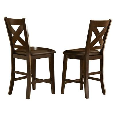 24 in. Abbey Merlot Cushioned Bar Stool (Set of 2)