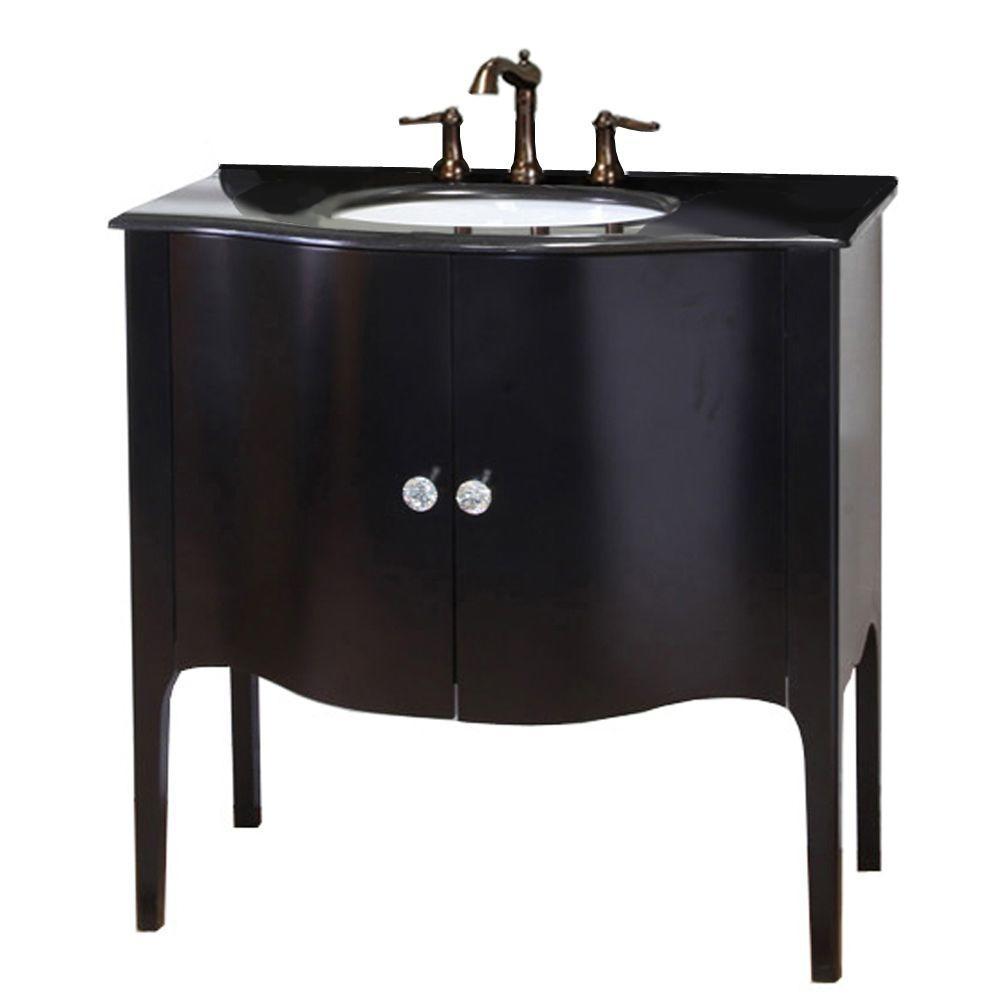 Pallazo 36-6/10 in. W x 36 in. H Vanity in Black with Granite Vanity Top in Black