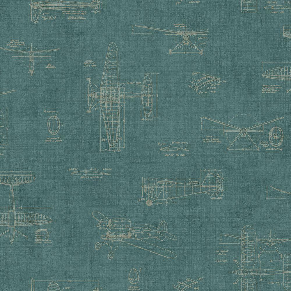 Douglas Teal Vintage Planes Wallpaper
