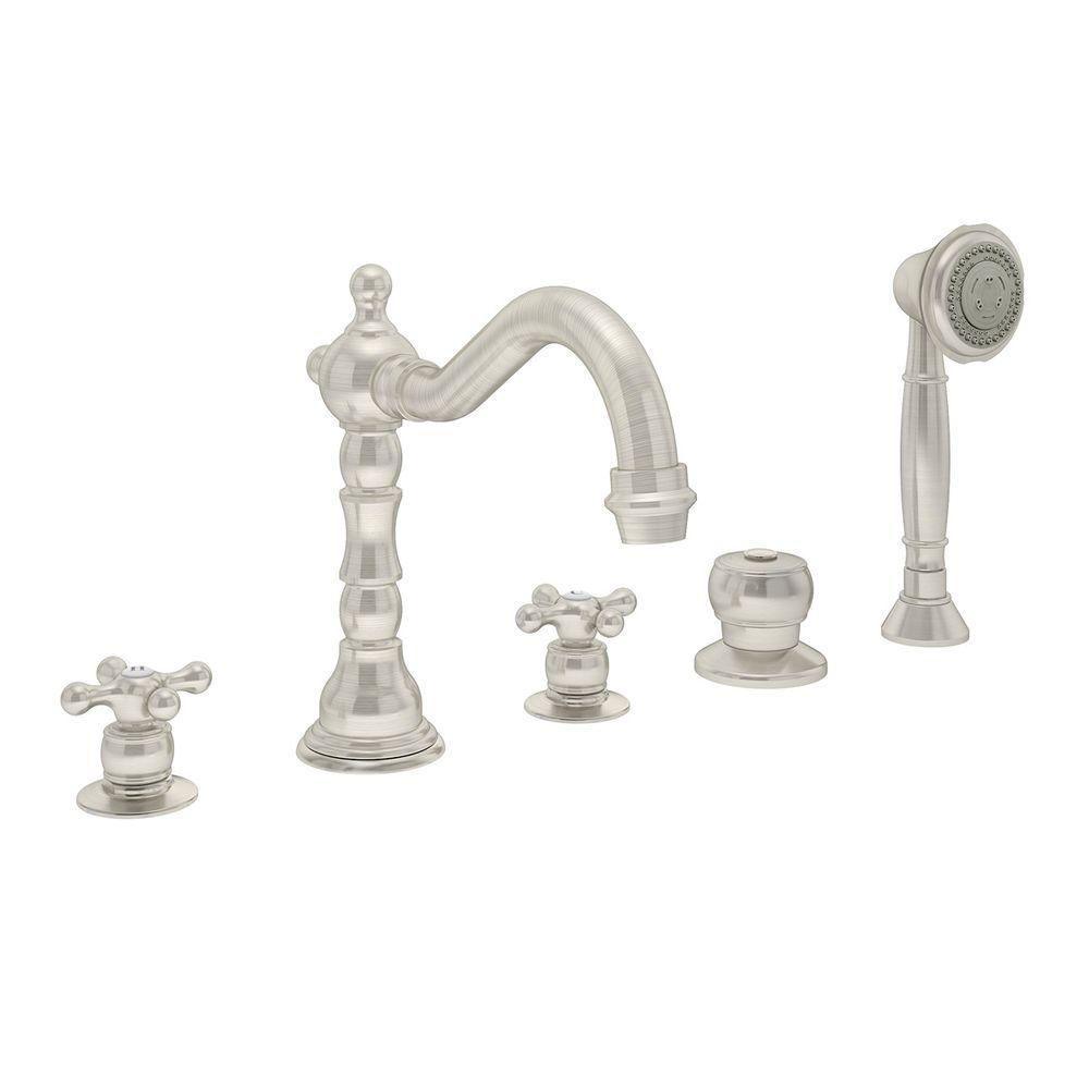 Symmons Carrington 2-Handle Deck-Mount Roman Tub Faucet with Handshower in Satin Nickel