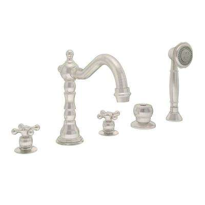 Carrington 2-Handle Deck-Mount Roman Tub Faucet with Handshower in Satin Nickel