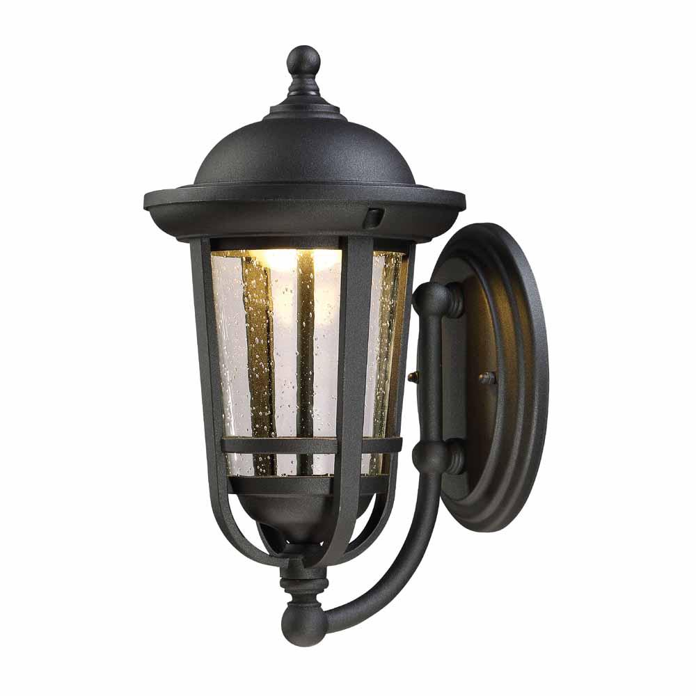 Envirolite 17 In Led Solid Black Outdoor Wall Lantern