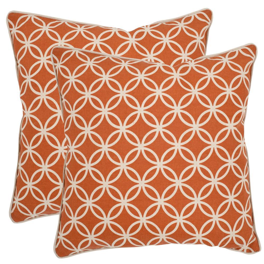 Safavieh Alice Printed Patterns Pillow (2-Pack), Brown