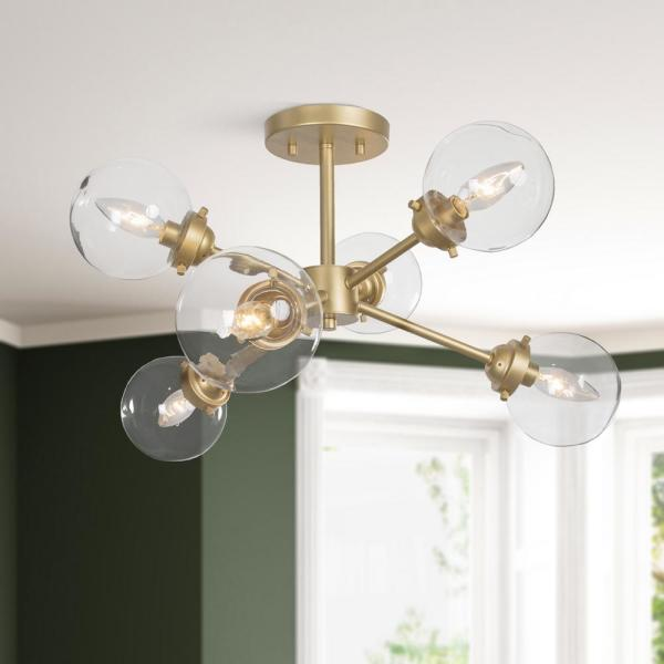 25 in. 6-Light Brass Gold Mid-Century Modern Semi-Flush Mount Lighting With Clear Glass Shade
