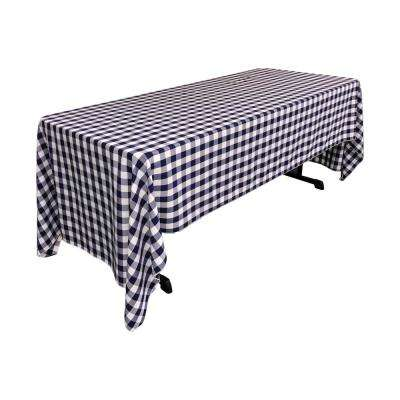 """60 in. x 144 in. White and Navy Polyester Gingham Checkered Rectangular Tablecloth"""