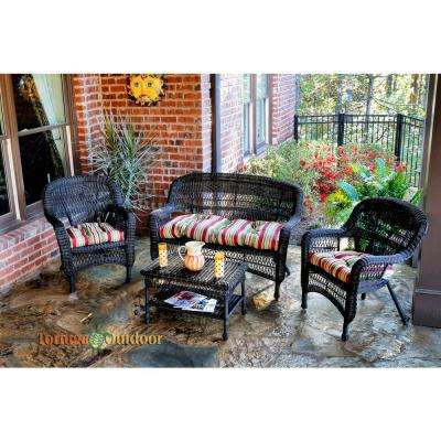 Portside Dark Roast 4-Piece Wicker Patio Seating Set with Eastbay Pompeii Cushions
