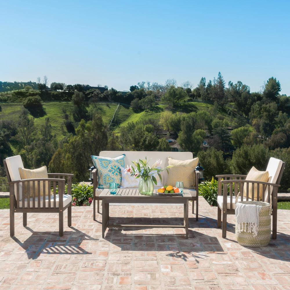 Noble House Carolina Grey 4 Piece Wood Patio Conversation Set With Cream  Cushions