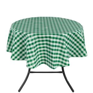 Round Indoor And Outdoor Green Checkered Design Tablecloth For Dining Table