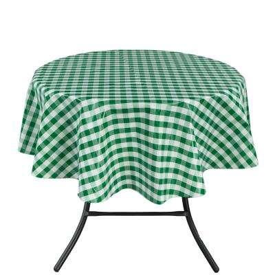 55 in. Round Indoor and Outdoor Green Checkered Design Tablecloth for Dining Table