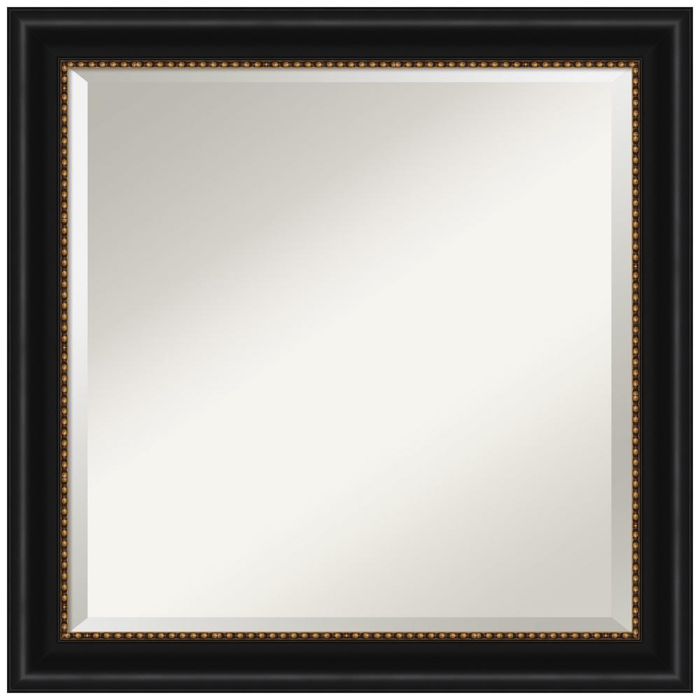 Medium Square Manhattan Black Beveled Glass Modern Mirror (23.75 in. H x 23.75 in. W)