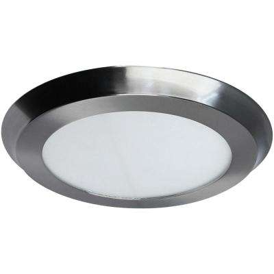 22-Watt 15 in. Nickel Integrated LED Flat Round Panel Flush Mount