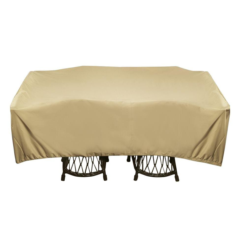 Two Dogs Designs 96 In Khaki Square Patio Table Set Cover