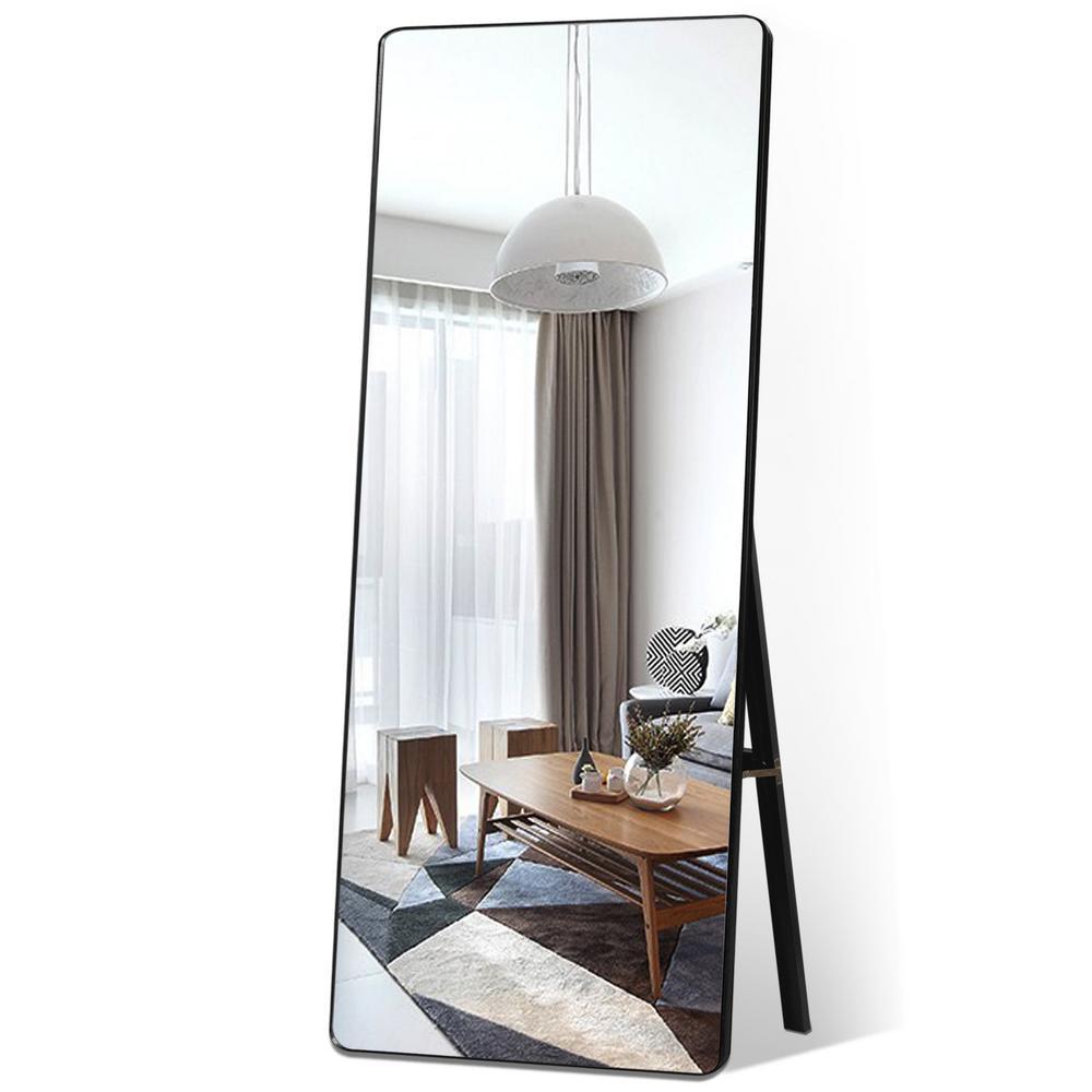 Black Modern Curved Edge Large Full-length Mirror/Leaner Floor Mirror/Hanging Mirror Living Room Bedroom