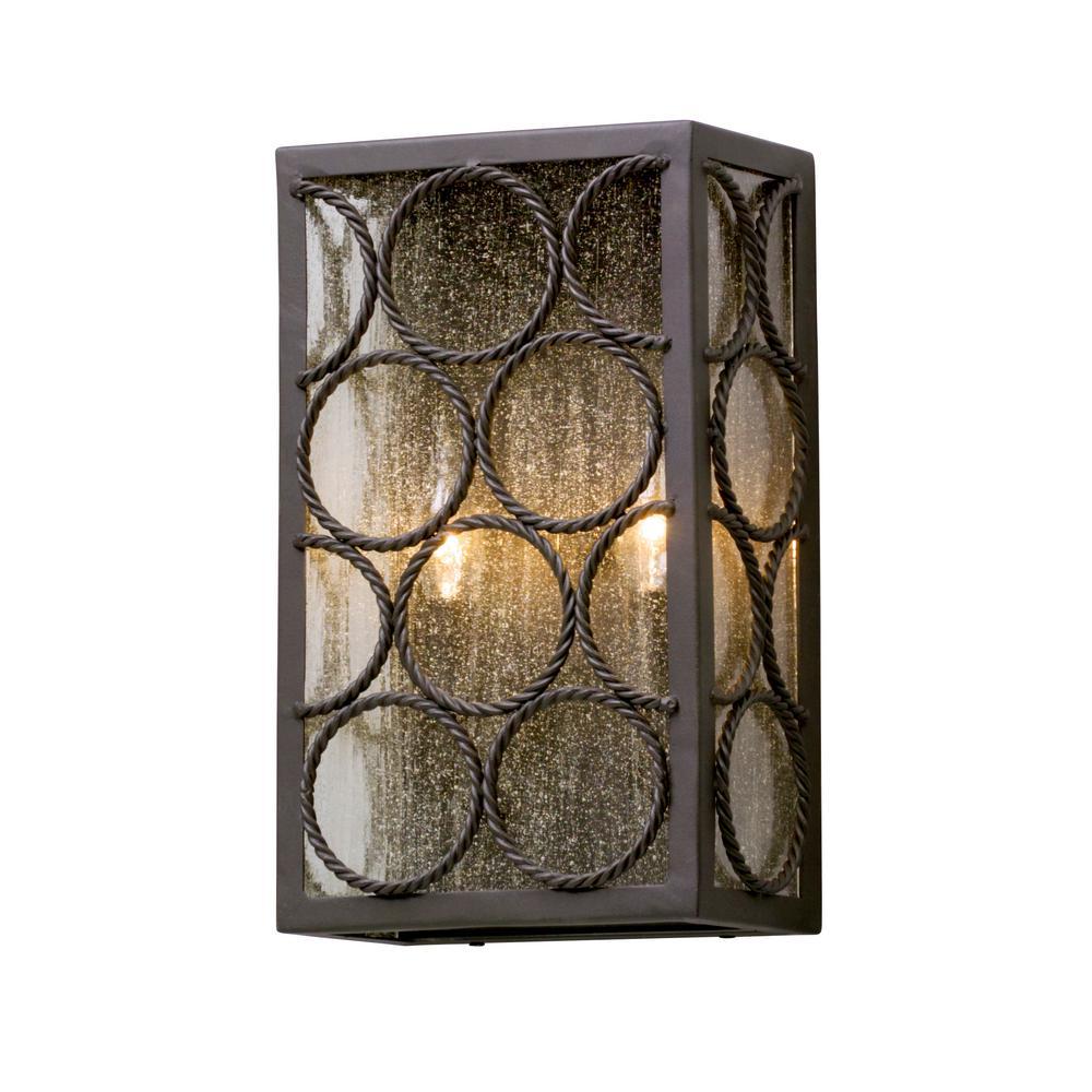 Troy Lighting Bacchus 2-Light Textured Bronze Outdoor Wall Mount ...
