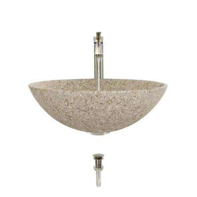 Stone Vessel Sink in Honed Basalt Tan Granite with 726 Faucet and Pop-Up Drain in Brushed Nickel