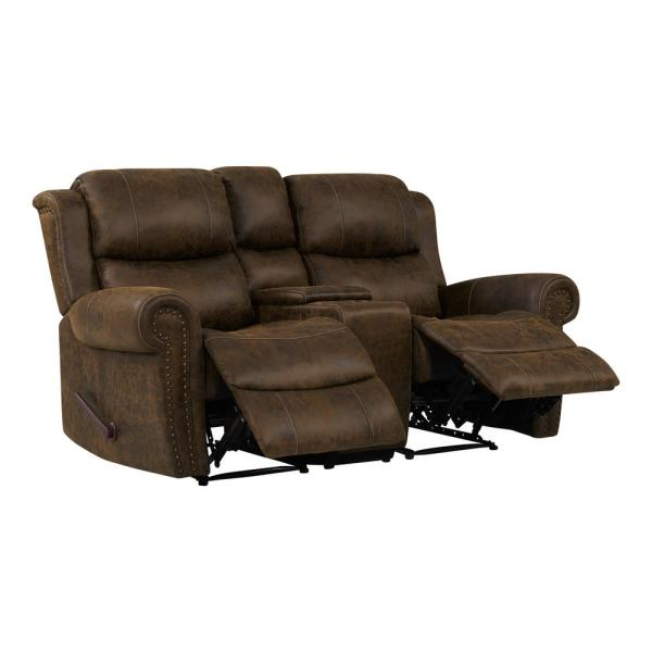 Prolounger Distressed Saddle Brown Faux Leather 2 Seat