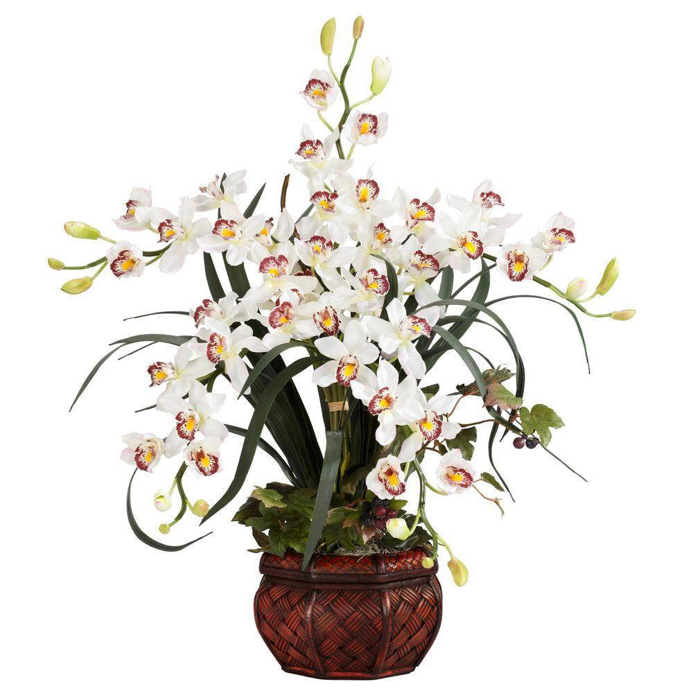 30 In H White Cymbidium With Decorative Vase Silk Arrangement 1245