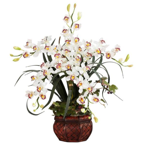30 in. H White Cymbidium with Decorative Vase Silk Arrangement