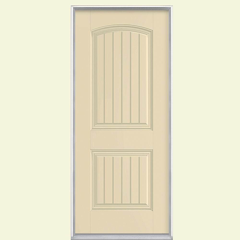 Masonite 36 in. x 80 in. Cheyenne 2-Panel Right-Hand Inswing Painted Smooth Fiberglass Prehung Front Door No Brickmold