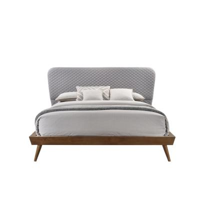 Avalon Gray Fabric Upholstered King-Size Mid-Century Platform Bed with Wood Frame