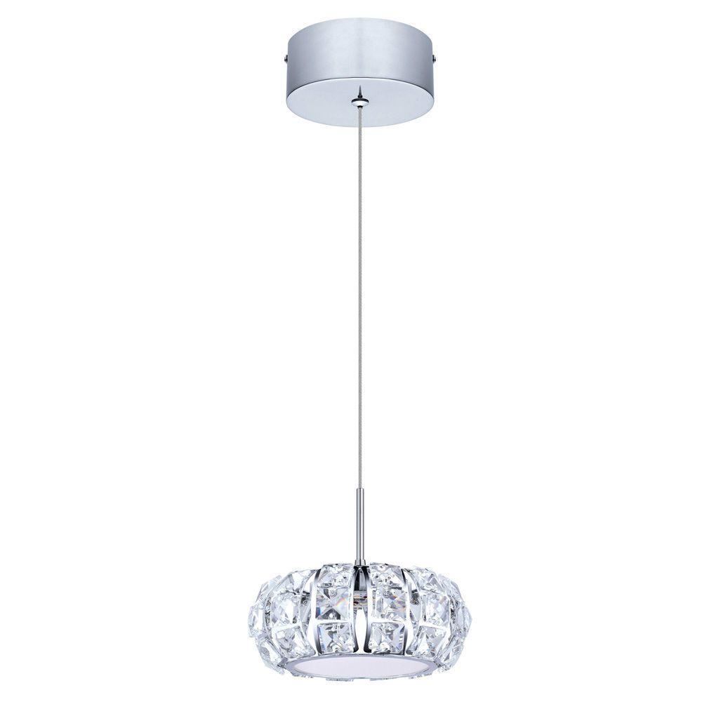 eglo corliano chrome led pendant light 201575a the home depot. Black Bedroom Furniture Sets. Home Design Ideas