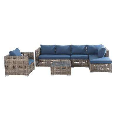 Kyle 5-Piece Wicker Patio Seating Set with Blue Cushion