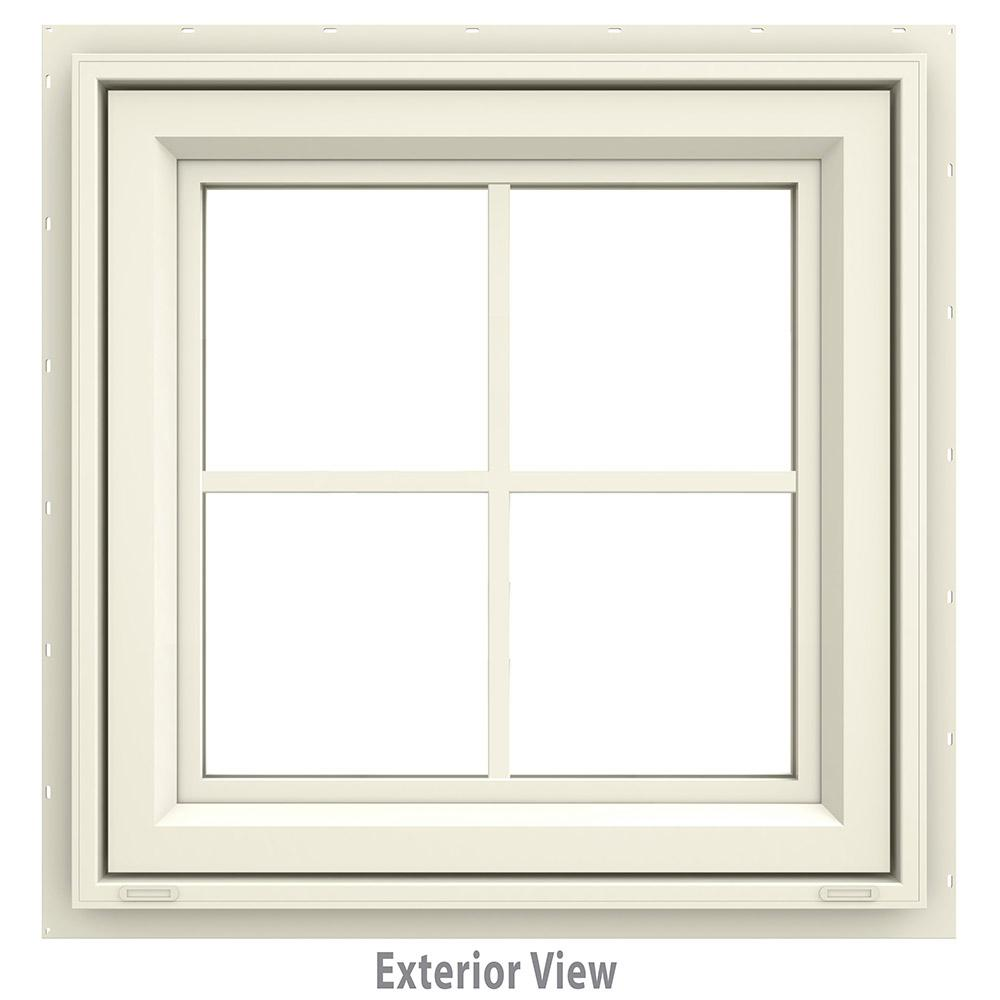 JELD-WEN 23.5 in. x 23.5 in. V-4500 Series Awning Vinyl Window with Grids - Yellow