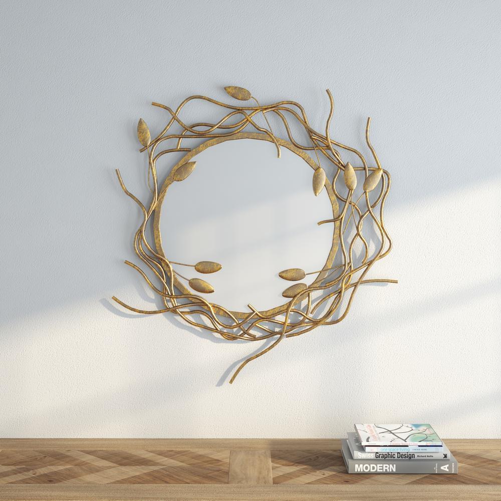 Safavieh gold Wreath 38.5 in. H x 34.5 in. W Round Framed Mirror ...