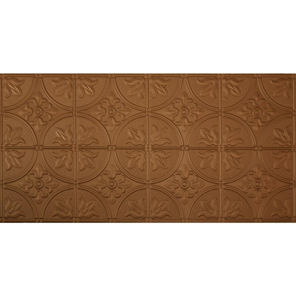 Global Specialty Products Dimensions Faux 24 in. x 48 in. Aged Copper Tin Style Decorative Ceiling and Wall Tile