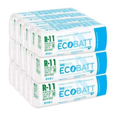 R-11 Unfaced Fiberglass Insulation EcoBatt 3.5 in. x 16 in. x 96 in. (15-Bags)