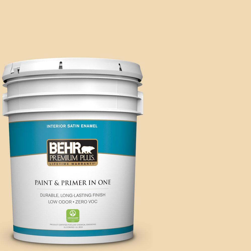 5-gal. #340E-3 Bavarian Cream Zero VOC Satin Enamel Interior Paint