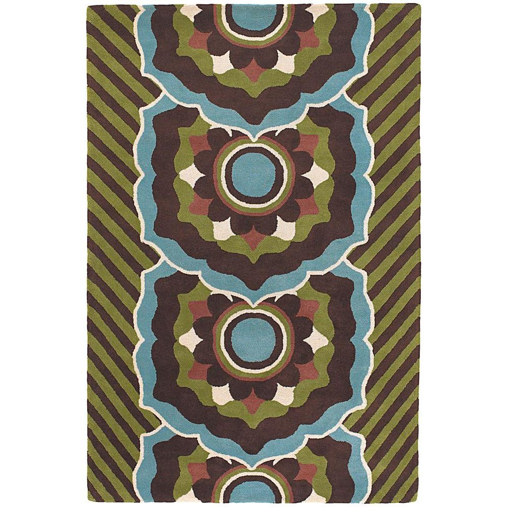 Chandra Dharma Brown/Green/Blue/White 5 ft. x 7 ft. 6 in. Indoor Area Rug