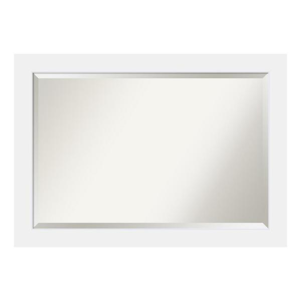 Corvino 41 in. W x 29 in. H Framed Rectangular Beveled Edge Bathroom Vanity Mirror in Satin White