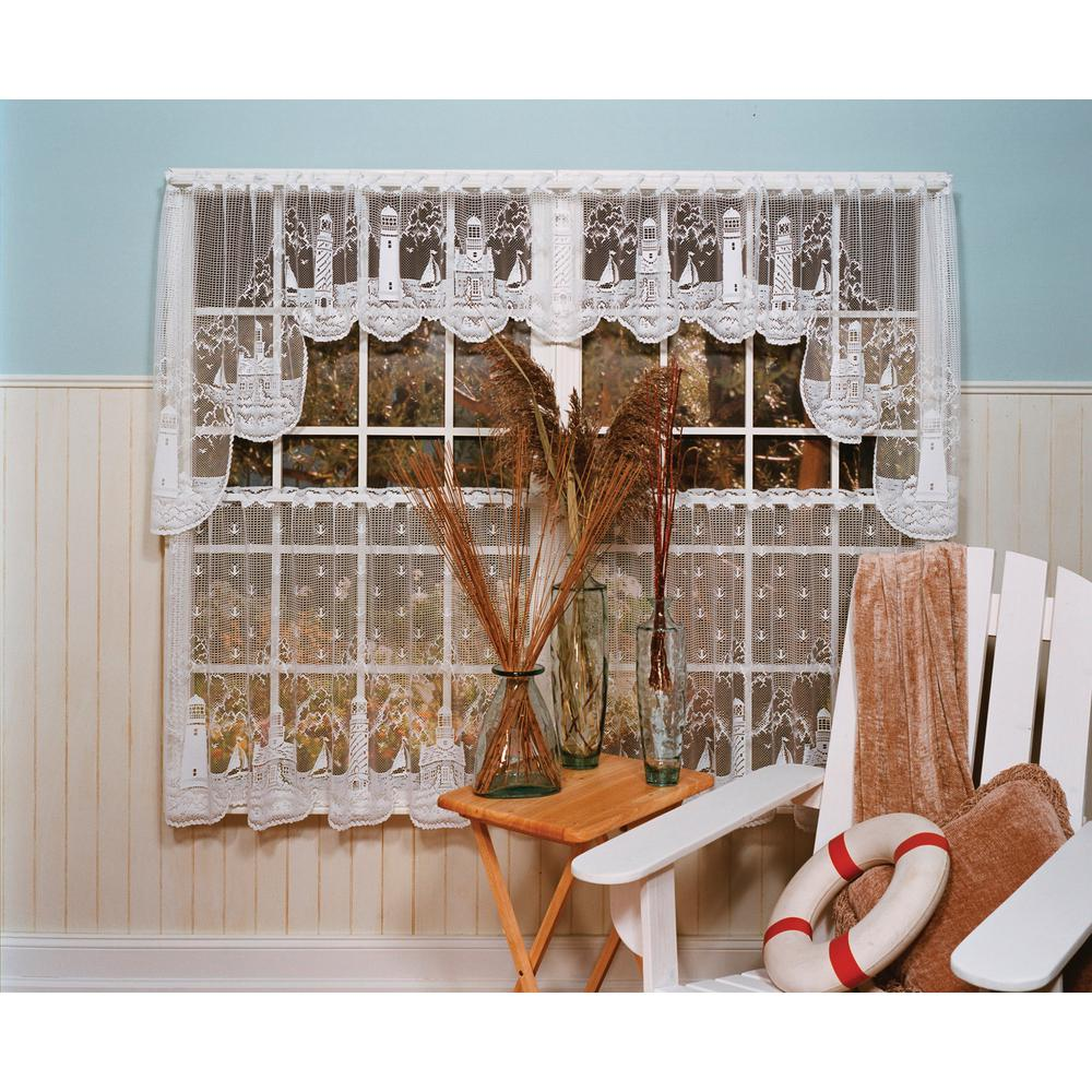 Heritage Lace Lighthouse 15 in. L Polyester Valance in White
