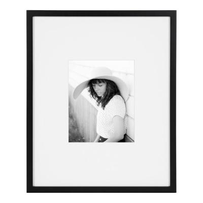 Gallery 16 in. x 20 in. matted to 8 in. x 10 in. Black Picture Frame