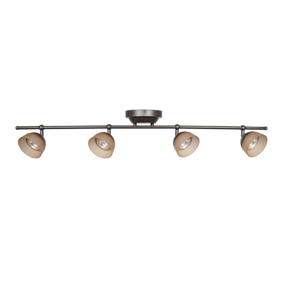 Led Track Lighting Bronze: Hampton Bay Madison 3 Ft. 4 Light Rubbed Bronze LED Fixed