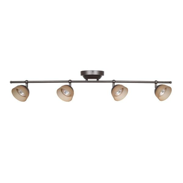 Madison 3 ft. 4 Light Rubbed Bronze LED Fixed Track with 400 LM/Head 1000027274