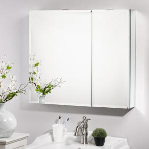 30 in. x 26 in. Surface-Mount Medicine Cabinet in Silver with Mirror and Shelves