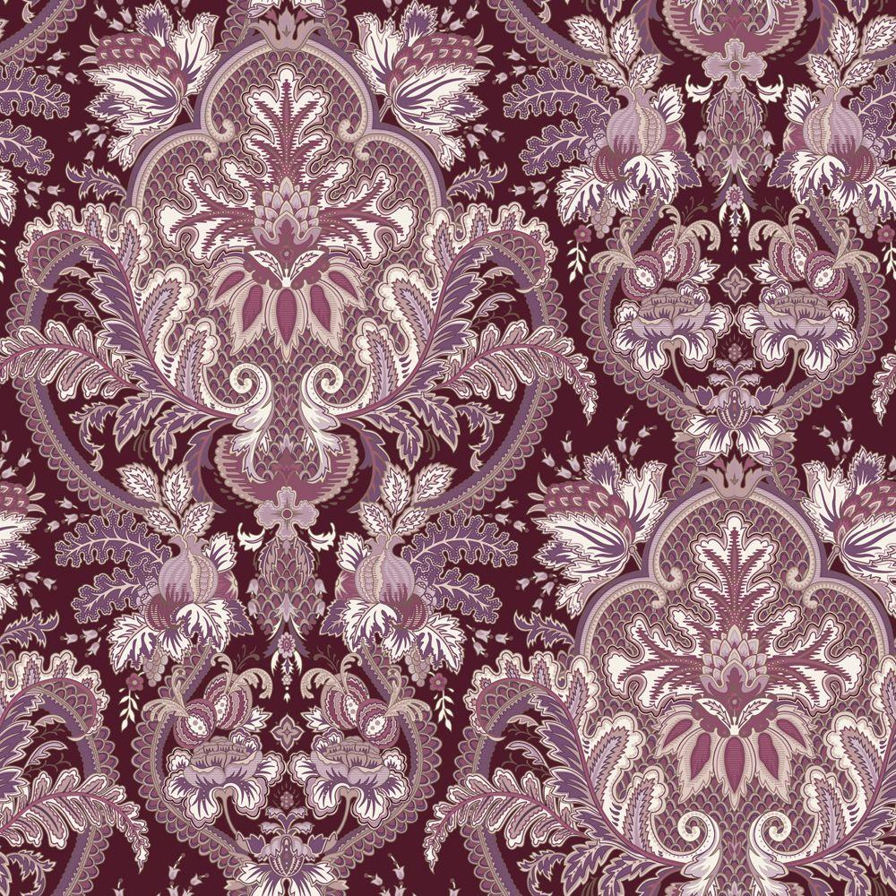 The Wallpaper Company 8 in. x 10 in. Small Paisley Damask Red Wallpaper Sample