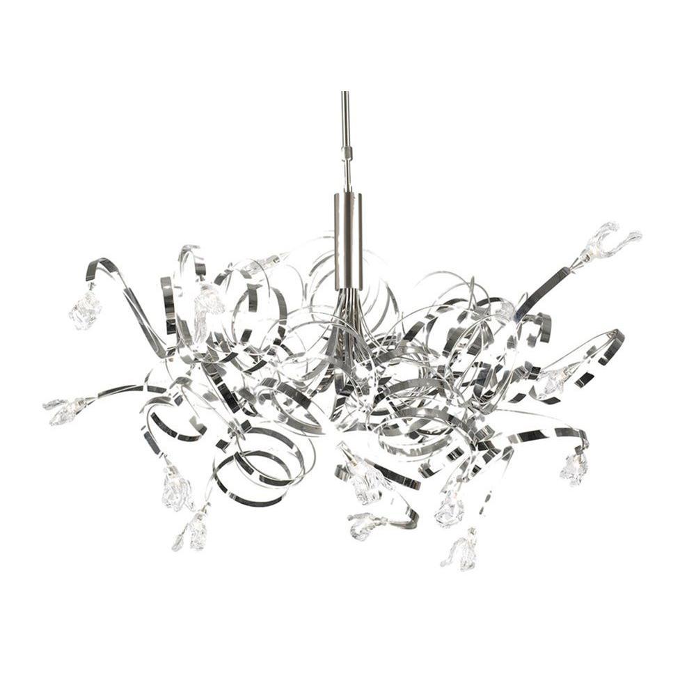Contemporary Beauty 16-Light Satin Nickel Halogen Chandelier
