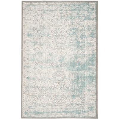 Passion Turquoise/Ivory 5 ft. x 8 ft. Area Rug